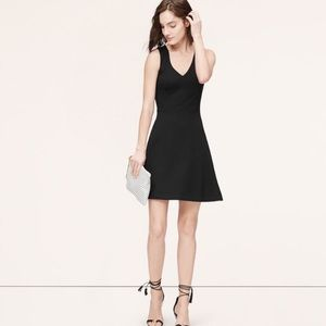 NEW LOFT Black Ponte Fit Flare Dress